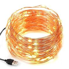 Kohree USB LED Fairy Starry String Lights, Decorative Rope Lights for Bedroom Patio Garden Party Wedding Commercial Lighting, Copper Wire 100 LEDs,Warm White