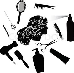"""""""Fashionable hairdress the hairdresser the hair dryer a hairbrush stock vector"""