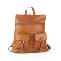 Aston Leather Leather Backpack with Top Zipper and Two Front Pockets