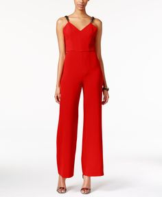 Xoxo Juniors' Embellished V-Back Wide-Leg Jumpsuit