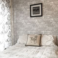 White brick peel and stick NuWallpaper perfect for a bedroom feature wall!                                                                                                                                                                                 More