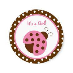 Mod Pink Ladybug Stickers Envelope Seals