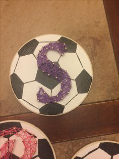 Soccer plaque with string art! For little girls!  End of the season gift!