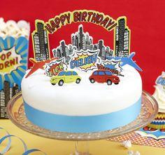 Bright Superhero Birthday Party Cake Toppers
