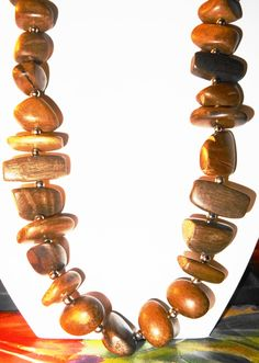 """Vintage Wooden 30"""" Geometric Designed Necklace by BeccasBestJewelry on Etsy"""