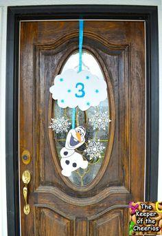 2014 Halloween Frozen Olaf Birthday Door Wreath - Snowflake Disney Frozen Decors #Halloween