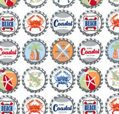 Going Coastal by Michael Miller - Bottle Caps in Multi - 1 yard - Additional Available, DC5160-Mult-D