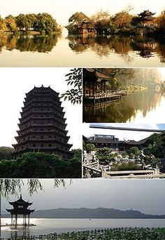 """Top: View of the """"Three Ponds Mirroring the Moon"""" at West Lake, Middle left: Liuhe Pagoda, Middle upper right: Su Causeway at West Lake, Middle lower right: Hu Xueyan Residence Garden, Bottom: Huxin Pavilion on West Lake"""