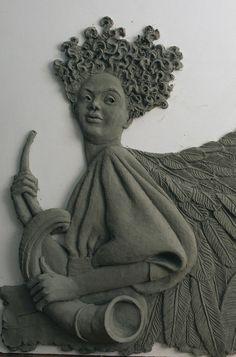 Flight of Angels ©2015 by Vinnie Bagwell | Plastilina in progress
