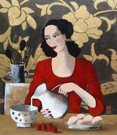 Marie Godest, Tarte aux fraises, Gemengde techniek op doek, 75x65 cm, €.745,-