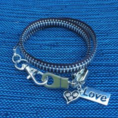 """$14 double wrap 15"""" Zipper Bracelet with Charms Love Charms by AllintheJeans on Etsy"""