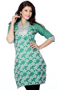 Picture of Pleasing Green Color Designer Tunics