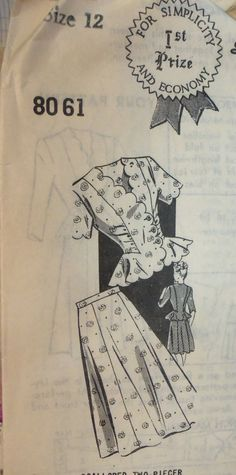 Vintage 1940s Mail Order 1st Prize 8061 SCALLOPED Two-Piece Dress Pattern sz 12 COMPLETE on Etsy, $36.00