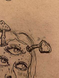 Dark Art Drawings, Art Drawings Sketches, Cool Drawings, Random Drawings, Cool Sketches, Arte Grunge, Grunge Art, Art Inspo, Psychedelic Drawings
