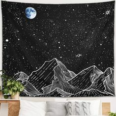 Room Tapestry, Large Tapestries, Hanging Wall Art, Tapestry Wall Hanging, Starry Night Sky, Night Skies, Mandala Buddhist, Constellation Tapestry, Pine Walls