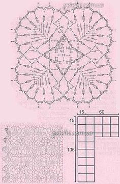 Шазюбль из квадратных ажурных мотивов. Описание, схемы