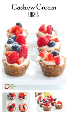 Cashew Cream Tart Recipe -  These are sweet, nutty, and taste like an amazing bite of cookie mixed with fruit. http://www.superhealthykids.com/cashew-cream-tart-recipe/