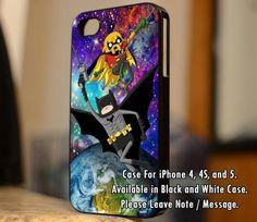 Adventure Time Robin and Batman parody on Galaxy Nebula iPhone Case And Samsung Galaxy Case