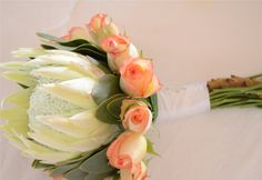 King protea and rose bouquet.
