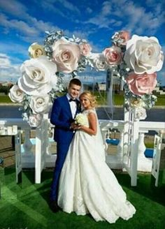 Image result for giant paper flower tutorial for wedding arch