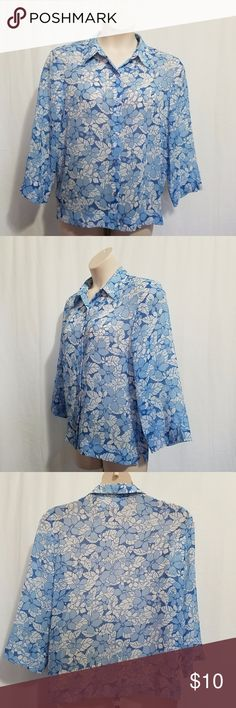 Alfred Dunner 14 Blouse Set Blue Floral Two Piece Brand:  Alfred Dunner  Color:  Blue and white.  Tag Size:  Misses 14.  Bust:  48 in.  Sleeve Length: 20 in.  Length:  26 in.  Materials:  Polyester.  Care Instructions:  Machine Wash, Tumble Dry. Alfred Dunner Tops Blouses