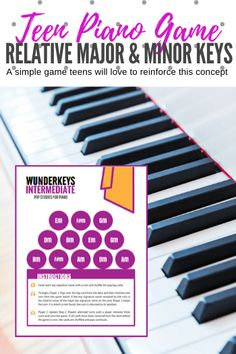 A Teen Piano Game To Improve Knowledge of Relative Major And Minor Keys - Teach Piano Today Preschool Music Lessons, Music Activities For Kids, Piano Games, Music Games, Piano Teaching, Teaching Resources, Kids Piano, Rhythm Games, Elementary Music