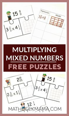 Looking for a helpful multiplying fractions activity? This fun and super easy set of puzzles will help kids practice this difficult concept (mixed numbers). Easy Math Games, Printable Math Games, Fraction Activities, Free Math Worksheets, Fun Math, Math Activities, Division Activities, Math Resources, Maths