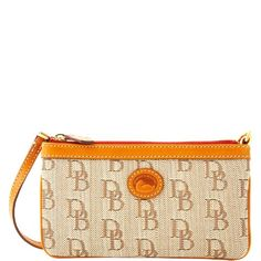 Dooney & Bourke Signature Jacquard Large Slim Wristlet, Brown - http://handbagscouture.net/brands/dooney-bourke/dooney-bourke-signature-jacquard-large-slim-wristlet-brown/