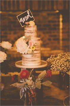 naked wedding cake @weddingchicks