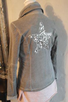 Impressionen Blazer Stern Jacke Sweatshirtblazer Kurzblazer grau batik 36 - 42