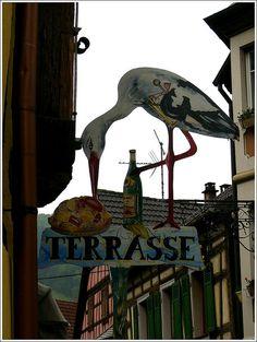 Restaurant Sign in Kaysersberg, Haut-Rhin France,