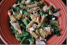 pasta- spinach, green beans, feta, salmon