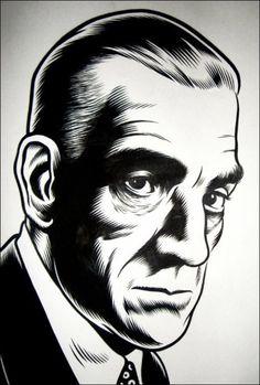 popgothic:  Boris Karloff, by Charles Burns.