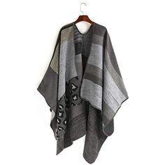 NCJD Poncho à col châle tricoté Oversize Motif géométrique pour Femmes  Couleur   Gris  etoles 96864ea6e17