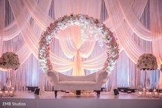 Marvelous Indian wedding reception mandap flowers decoration.