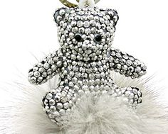 Gray Crystal Bear Key Chain Key Ring with Rabbit Fur Trim