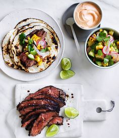 Flank+steak+tacos+with+corn,+avocado+and+coriander