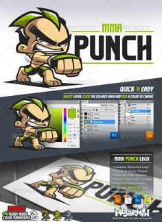 MMA Punch  Cartoon Logo — Photoshop PSD #fighter #mma • Available here → https://graphicriver.net/item/mma-punch-cartoon-logo/4698266?ref=pxcr