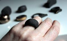 Spanish Black Stoneware: Carved Ceramic Ring via Etsy.