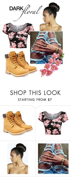 """Floral"" by omg-its-katie ❤ liked on Polyvore featuring Timberland, Boohoo and Laura Cole"