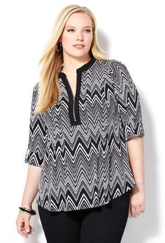 Abstract Chevron Zip Pullover-Plus Size Top-Avenue Tall Girl Fashion, Diva Fashion, Curvy Fashion, Plus Fashion, Plus Size Tops, Plus Size Women, Plus Size Dresses, Plus Size Outfits, Girls Dresses Sewing