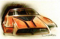 1971 Mustang II Ram-Air Boss design sketch by Ford designer Dick Nesbitt