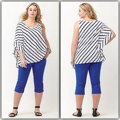 NWT White w/ black & blue striping top Drama sleeve top. Scoopneck. 60% cotton; 40% modal. zxtrfrpo Lane Bryant Tops Tees - Short Sleeve