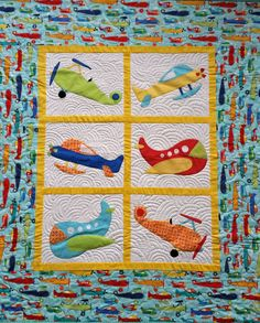 Personalized Zoom Planes Quilt handmade from 100% by NuttyMonkey