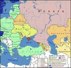 Geopolitical map of Crimea, Ukraine, Russia, and Europe