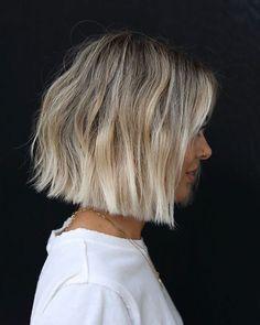 Asymmetrical - Anh Co Tran Fringe Hairstyles, Bob Hairstyles, Short Blond Hairstyles, Blonde Ombre Short Hair, Blunt Bob Haircuts, Short Blonde Bobs, Blonde Haircuts, Trendy Haircuts, Ombré Hair