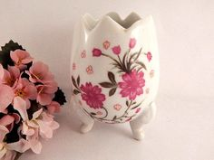 Footed Egg Vase White Porcelain Pink Floral Transfer Vintage Vanity Table Dish