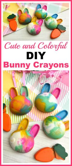 Cute and Colorful DIY Bunny Crayons- Great basket stuff Plus coloring is much more fun if your kids have custom-shaped crayons! Here's how to easily make your own cute and colorful DIY bunny crayons! These would make great Easter basket gifts! | DIY project, craft, easy DIY, custom crayon, kids' art supplies, carrot crayons