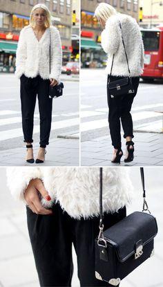 Fashion blogger, Victoria Törnegren.     Shoes - Choies  Trousers - BikBok  Jacket - VILA  Bag - Nelly