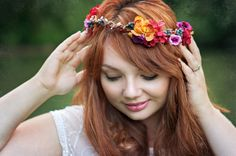 autumn flower crown hair wreath whimsical by MagaelaAccessories